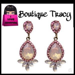 NEW Chandelier Pink Crystal & Rhinestone Earrings